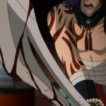 Screenshot from Dramatical Murder of Koujaku after he killed a man from his past before hehurt Aoba