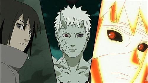 Naruto Shippuudden screenshot of characters sasuke, obito, and minato from Episode 379