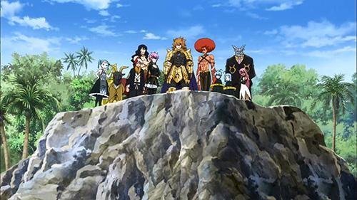 Screenshot of the dark celestial spirits in Fairy Tail Episode 30