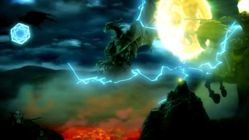 Shingeki No Bahamut screenshot of Demons and Humans attacking Bahamut with amazing summons in Episode 1