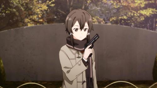 Sword Art Online 2 screenshot of  Sinon holding a gun in the real world finally in  episode 14