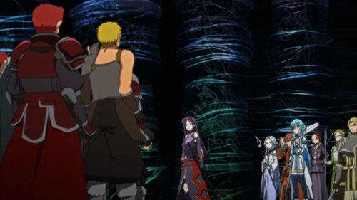 Yuuki and the Sleeping Nights about to battle another guild in Sword Art Online S2 Episode 20