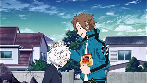 Jin petting Yuma on the head in the anime World Trigger Episode 6