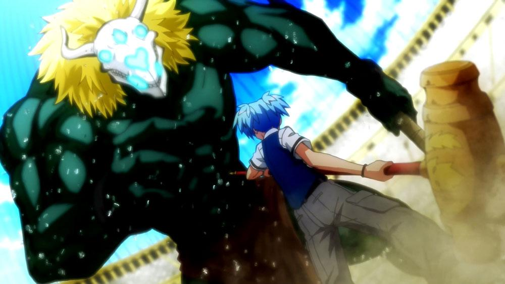Nagisa stand before I giant green monster  in Assassination Classroom Episode 15