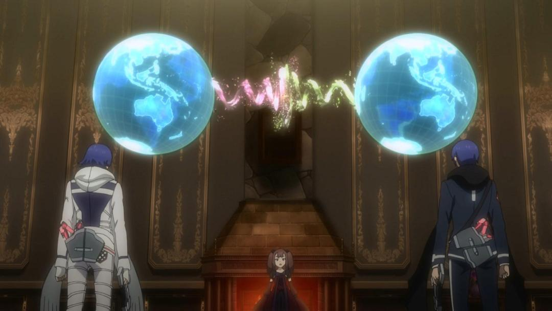 Both Tohrus stand in front the TimeKeepers and listen to how their worlds were destroyed in Gunslinger Stratos Episode 05