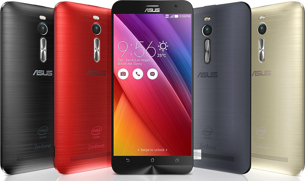 A picture of the Asus Zenfone 2 phone and all its colors