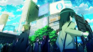 Screenshot of city life in the anime K