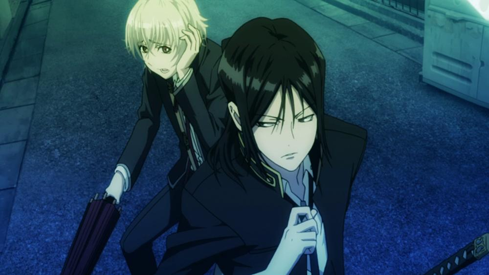 Screenshot of Kurou defending Shiro in episode 1 of the anime K