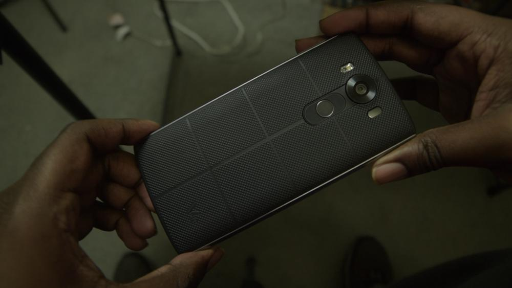 Picture of the textured back of the LG V10