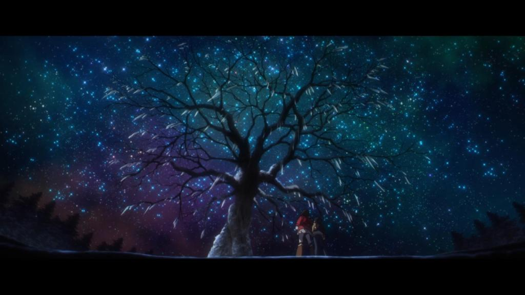 Satoru and Hinazuki looking up at a tree that's iced over but looks magical with starts shining above it at night in Boku Dake Ga Inai Machi