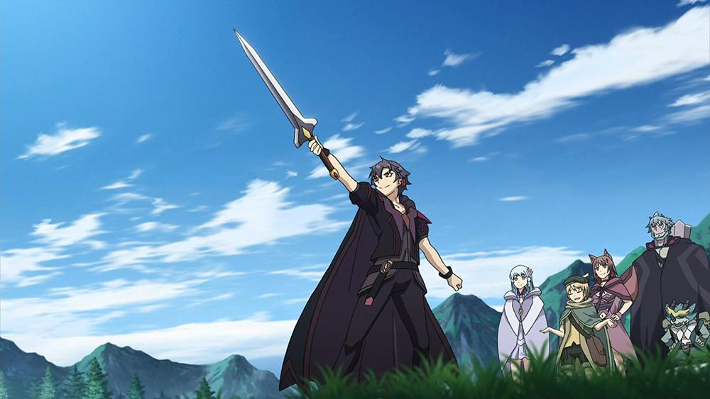 Hiiro with his sword raised and his friends standing behind him in the end of final episode