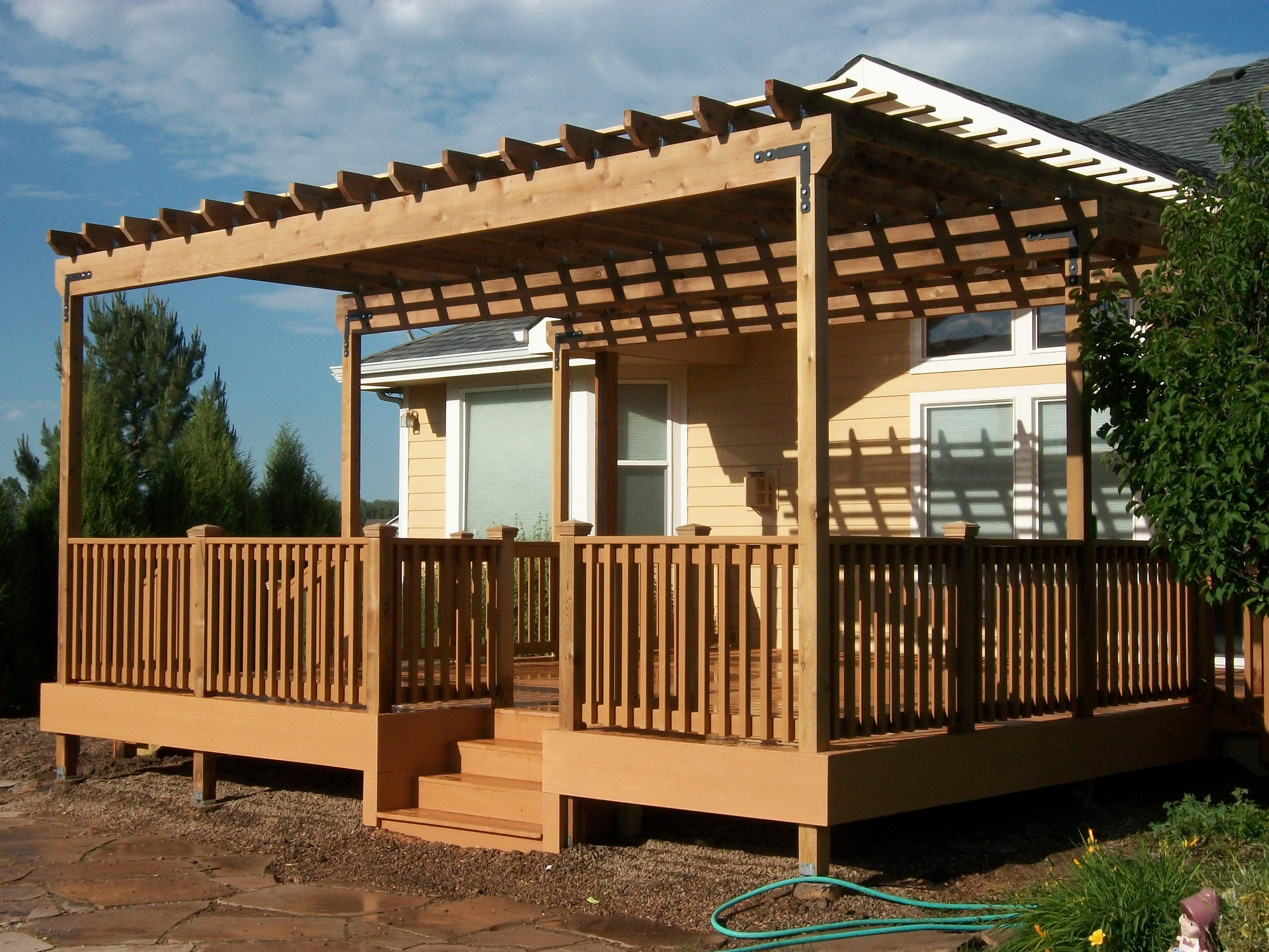 Trex Composite Outdoor Deck And Cedar Pergola