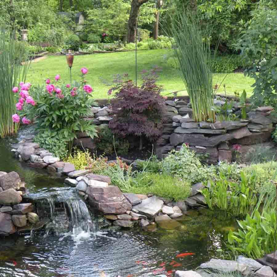 Backyard Waterfall Lancaster, PA Eshelman Mill Gardens and Landscapes