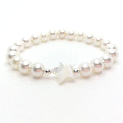 Náramek perly 8mm s hvězdou z perleti