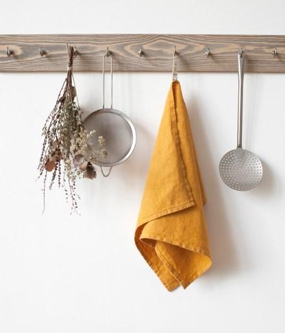 Torchon lin lavé jaune moutarde cuisine - Échoppe Végétale