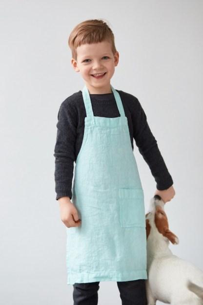 Tablier enfant en lin lavé vert menthe à l'eau