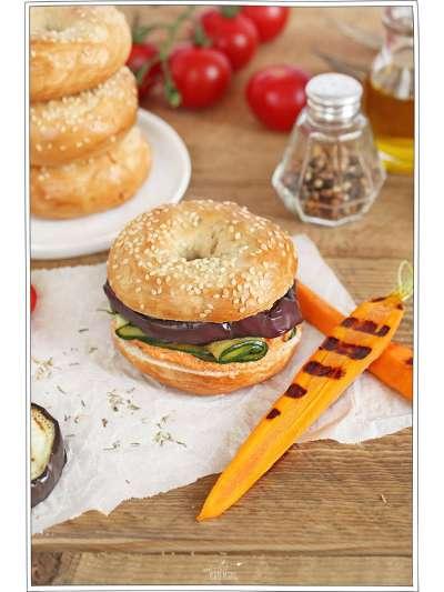 recette d'été : bagel aux légumes grillés