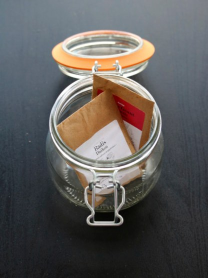 Kit graine germée bio : bocal Le Parfait, graines de radis