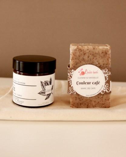 kit mains vertes vegan composé d'un savon bio au marc de café pour le jardinage ou la cuisine et un beurre ed karité bio, Make it beauty