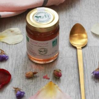 confit bio aux pétales de roses, fleurs comestibles MADE IN FRANCE, herbier de saint-fiacre