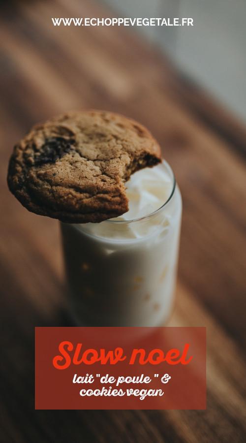 préparer un goûter de noël vegan avec du vegg nog et des cookies au chocolat