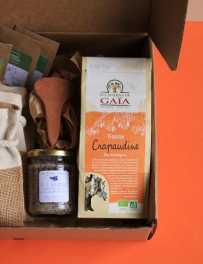 sachet de thé en kraft les jardins de gaîa, marque française, thé des montagnes, étiquette orange sur le devant