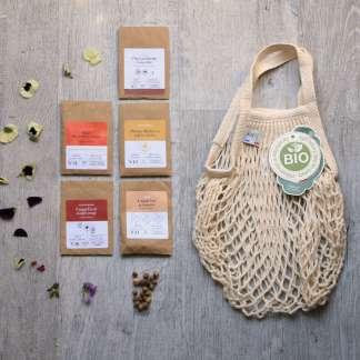 kit fleurs mellifères sur balcon, bio, fleurs pour les abeilles comestibles, chrysanthème comestible, capucine, coquelicot, souci, mélange pour abeilles et filet à provision de marché en coton bio écru