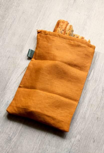 grand sac à pain en toile de lin orange fabriqué en France, tissu oeko tex   Mlle Bellamy pour échoppe végétale