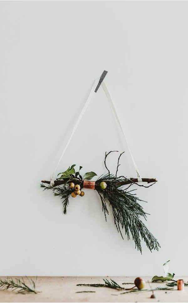 suspension végétales de Noël en encalyptus et bois | échoppe végétale