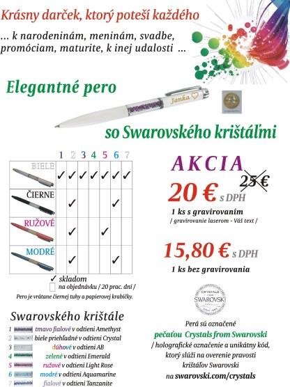 Pero so Swarovského krištáľmi + gravírovanie textu