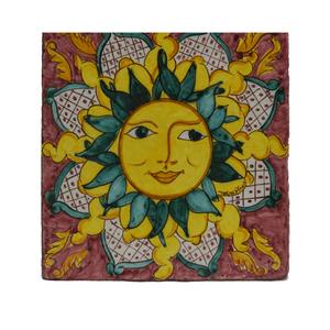 ceramica_decorata_A_mano_sole_sicilia_rosso