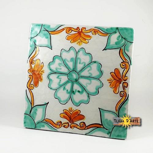 ceramica_siciliana_Codice_Floreale_Verde_Ramina_15x15