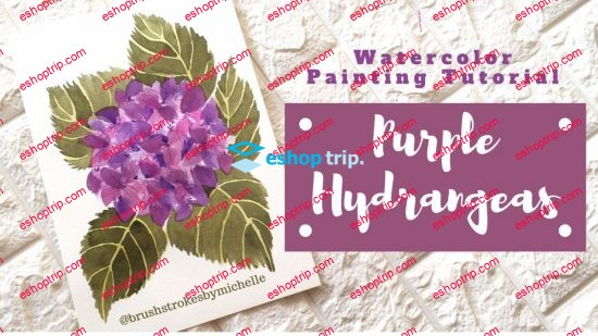 Real Time Watercolor Painting Tutorial Purple Hydrangeas No Sketching Required
