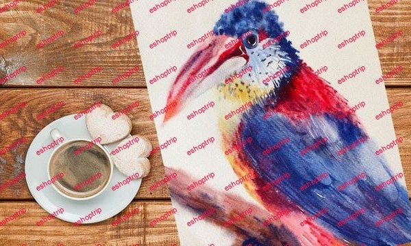 Easy Watercolor Exotic Bird in Loose Style