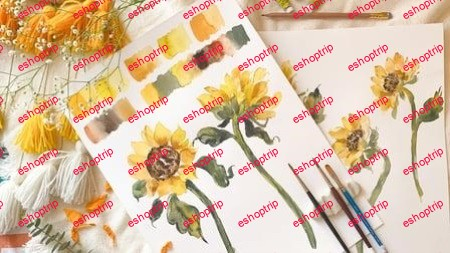 Expressive Sunflowers Loose Watercolor Style Beginner Friendly
