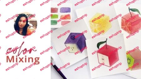 Isometric Watercolor Fruits Paint These with 3 Colors ONLY