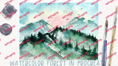 Painting Watercolor Trees in Procreate Digital Watercolor Forest Landscape Free Brushes