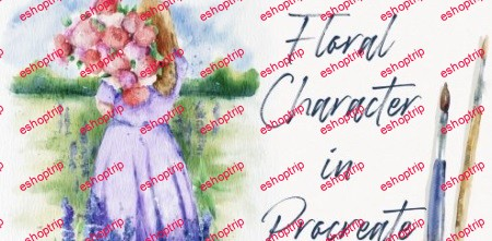 Watercolor Girl with Flowers in Procreate Digital Landscape Illustration on iPad free brushes