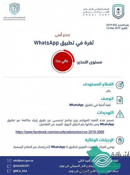 يحذر المركز الوطني الإرشادي للأمن السيبراني من ثغرة أمنية في تطبيق WhatsApp