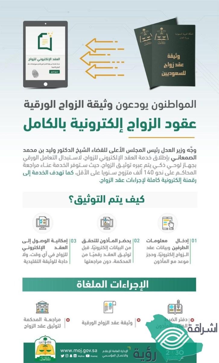 """وزارة العدل تطلق خدمة """"العقد الإلكتروني للزواج"""" للإستغناء عن """"العقود الورقية"""""""
