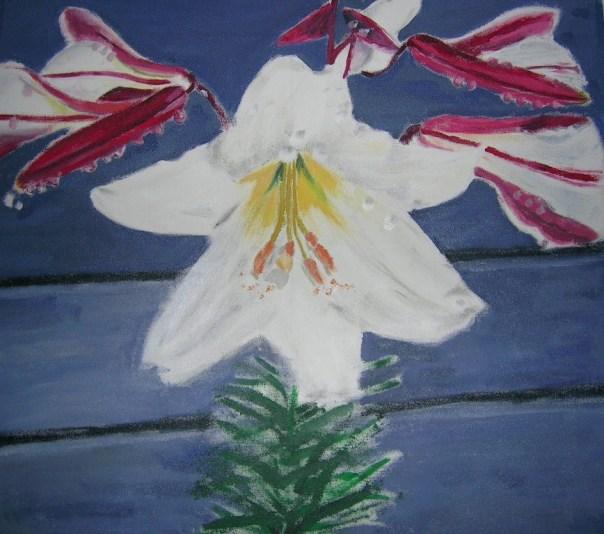 Lilje, acryl på lærred 60x60