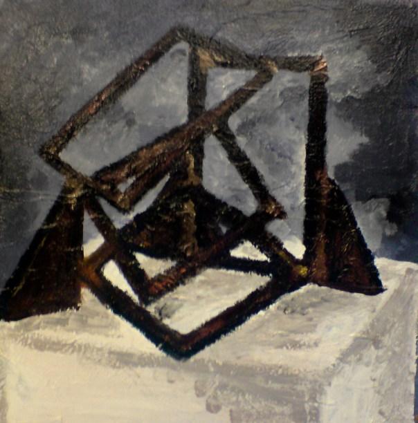 Skulptur, acryl på lærred 40x 40