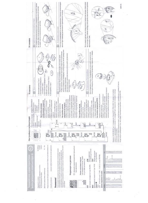 Инструкция к компьютеру  велосипеда