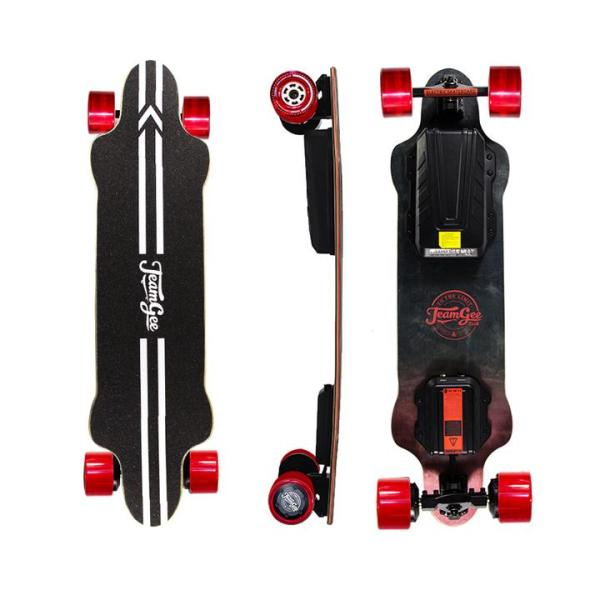 Teamgee H20 electric skateboard with red wheels