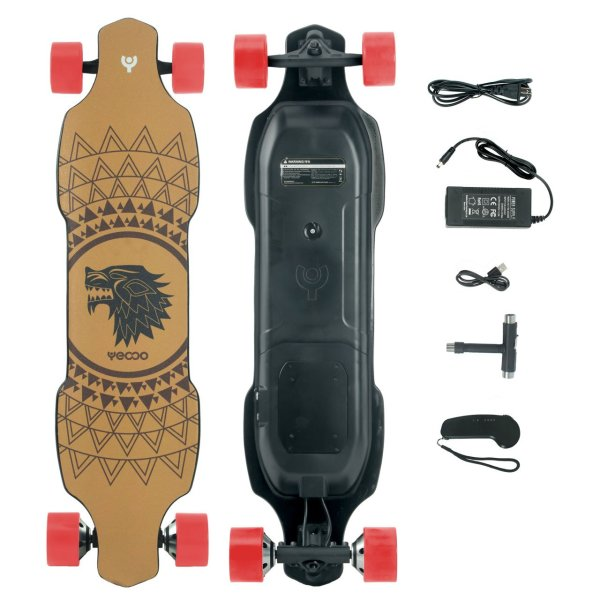 Yecoo XJ electric longboard top underneath deck and contents in box