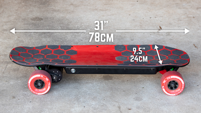 BKB DIY Electric Skateboard Kit - Deck Dimensions
