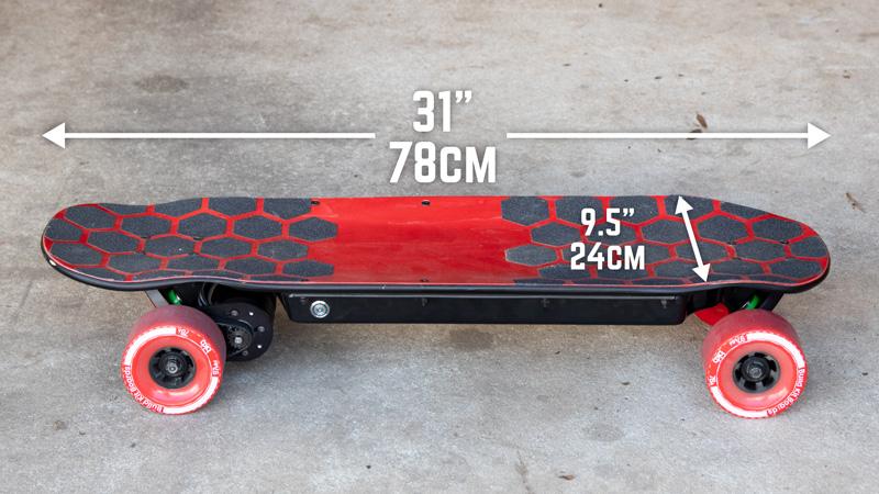 BKB DIY Electric Skateboard Kit - Deck Dimensions