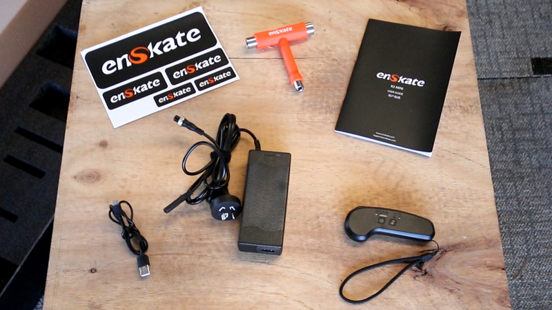 contents in the box: remote, charger, micro usb, t-tool, user guide, stickers, rubber deck cleaning eraser