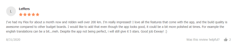 customer review: I've had my Flex for about a month now and ridden well over 200 km. I'm really impressed
