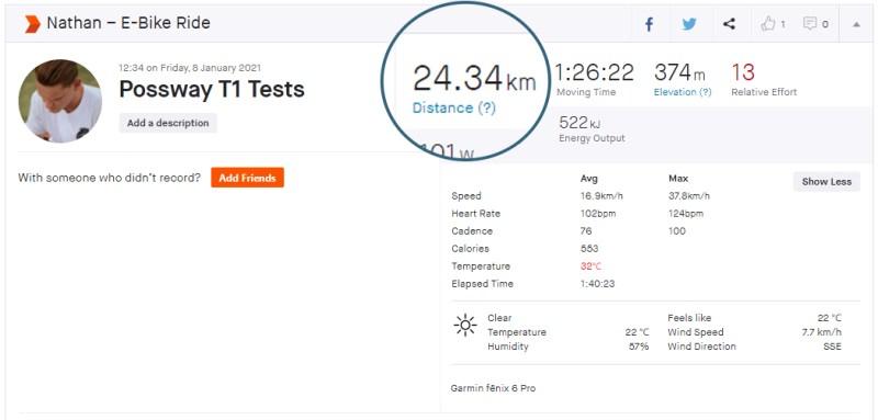 Possway T1 Range Test Data - 24.34km